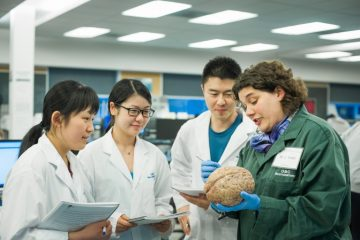 "Claudia Krebs with students in the ""Brain and Behaviour"" lab. Photo by Martin Dee"