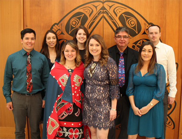 Aboriginal MD Graduates, Class of 2017. Left to right: Cody Kaskamin, Lauren Taylor, Ellie Parton, Alexandra Sheppard, Jennafer Wilson, James Andrew (Aboriginal Student Initiatives Coordinator), Lindsay Wainwright, Benjamin Sheppard. Missing: James Williams, Gabrielle Levin. Photo credit: Kevin Ward
