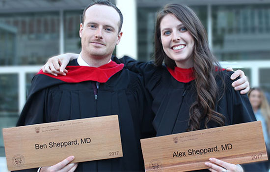 Ben and Alex Sheppard celebrate the end of their journey through medical school at this year's MD Hooding ceremony.